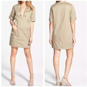 Amour Vert Irene Short Sleeve Khaki Dress Natural